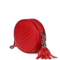 Кръгла капитонирана кожена чанта Zeta, червена