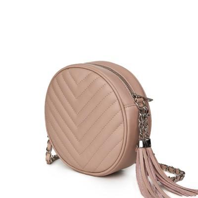 Кръгла капитонирана кожена чанта Zeta, розова