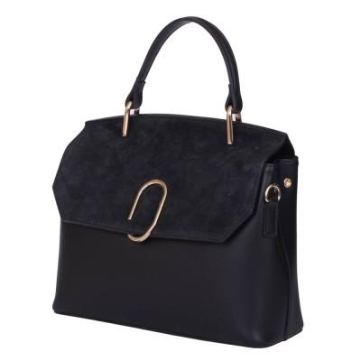 Чантата тип портмоне от естествена кожа Ruby, черна