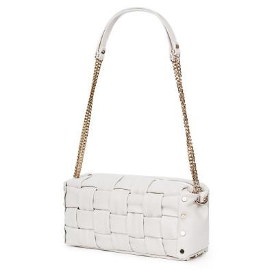 Дамска чанта тип портмоне от естествена кожа Selena, бяла