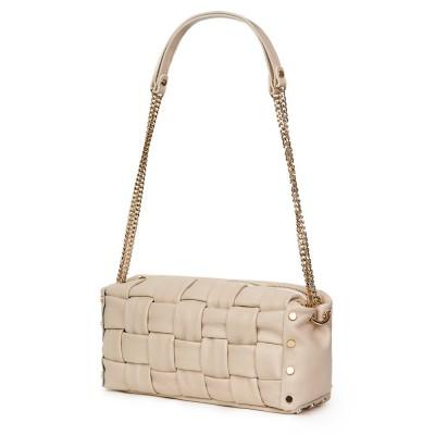 Дамска чанта тип портмоне от естествена кожа Selena, светло бежова