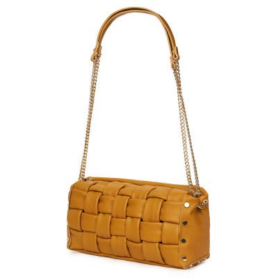 Дамска чанта тип портмоне от естествена кожа Selena, жълта