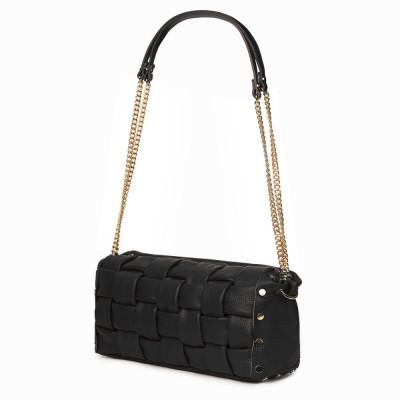 Дамска чанта тип портмоне от естествена кожа Selena, черна