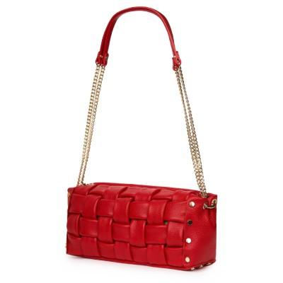 Дамска чанта тип портмоне от естествена кожа Selena, червена