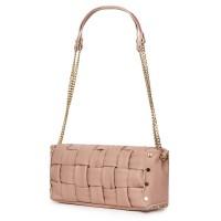 Дамска чанта тип портмоне от естествена кожа Selena, розова