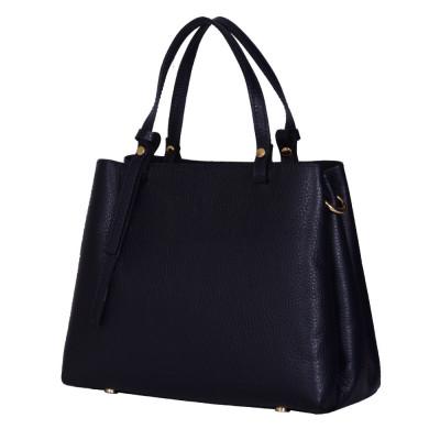 Чанта тип портмоне от естествена кожа Timeea, тъмносиня