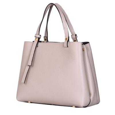 Чанта тип портмоне от естествена кожа Timeea, светло бежова