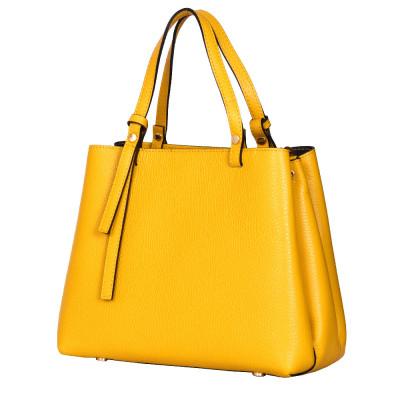 Чанта тип портмоне от естествена кожа Timeea, жълта