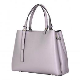Чанта тип портмоне от естествена кожа Timeea, сива