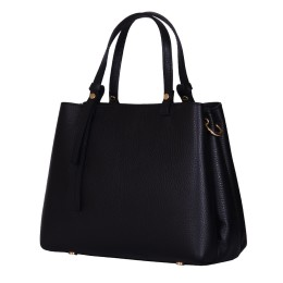 Чанта тип портмоне от естествена кожа Timeea, черна