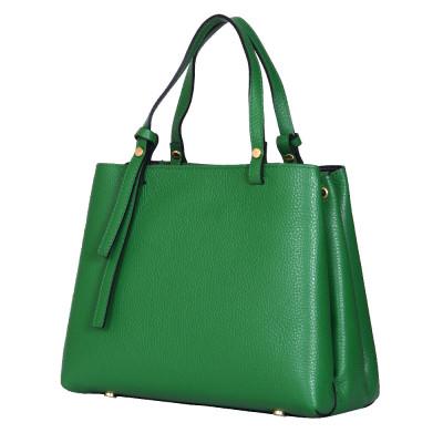 Чанта тип портмоне от естествена кожа Timeea, зелена