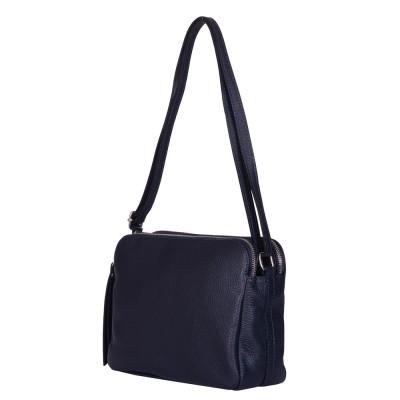Чанта тип портмоне от естествена кожа три отделения Jessica, тъмносиня