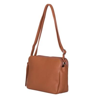Чантата тип портмоне от естествена кожа Jessica, коняк