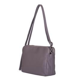 Чантата тип портмоне от естествена кожа Jessica, сива