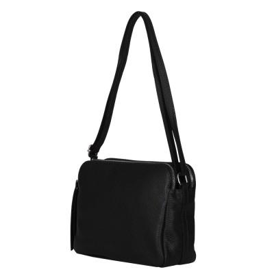 Чантата тип портмоне от естествена кожа Jessica, черна