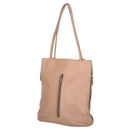Чанта-раница 2-в-1 от естествена кожа David, бежова