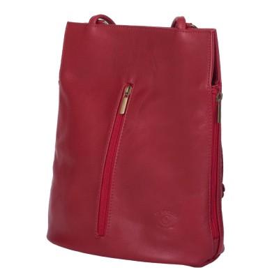 Чанта-раница 2-в-1 от естествена кожа David, червена